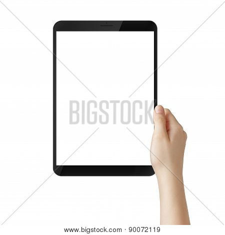 female teen hand hold tablet pc with white screen, isolated