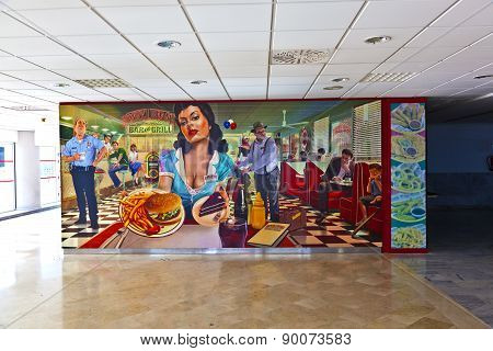 Wallpainting To Advertise For Henry J Beans Burger