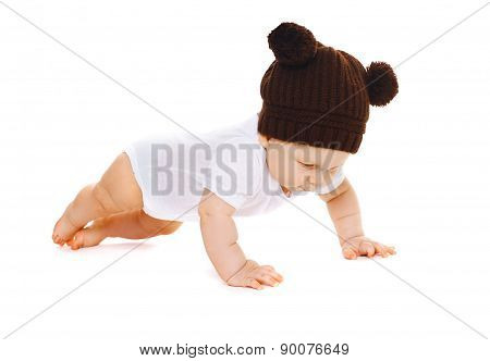 Funny Little Baby In The Knitted Brown Hat