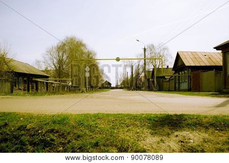 Gasified retro street in the Russian province