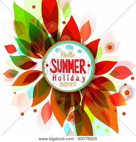 Hot Summer Holidays Background With Circle Sticker