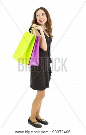 Shopping Woman Standing With Shopping Bags