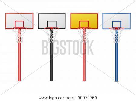 Basketball Hoops Set. Isolated On White.