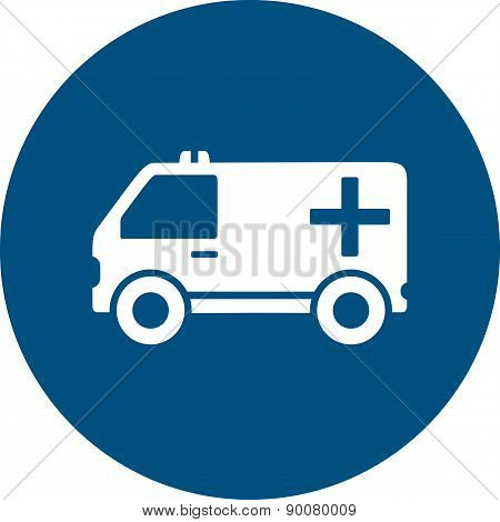 ambulance car on blue round icon