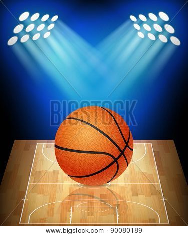 Ball On Basketball Court With Spotlights