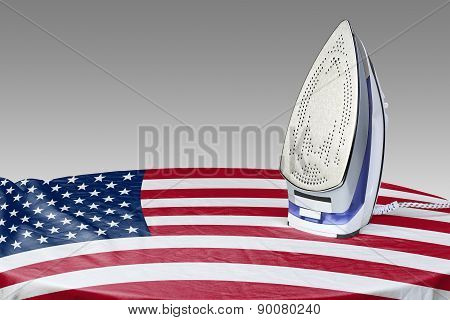 Preparing To Smooth Out The Wrinkles Of Flag-usa