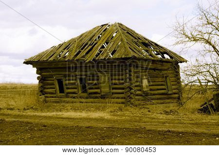 Retro resistant wooden house in the deserted outback