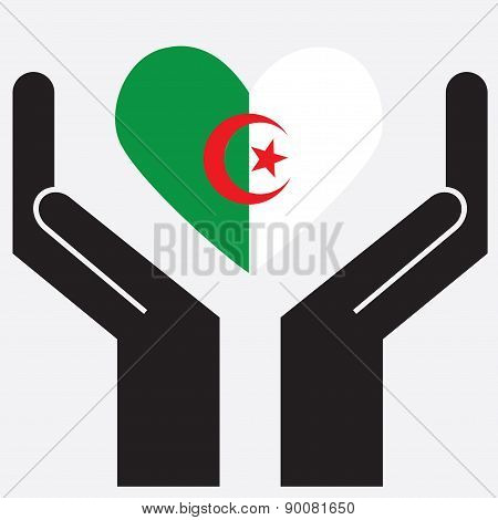 Hand showing Algeria flag in a heart shape.