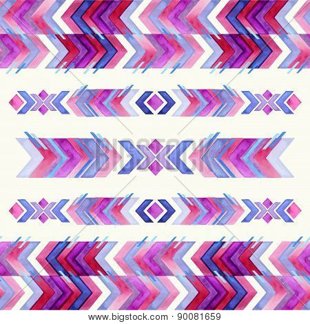 Navajo Aztec Textile Inspiration Watercolor Pattern. Native American Indian Tribal  Hand Drawn Art.