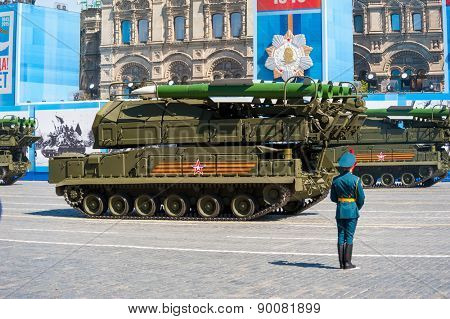 MOSCOW - MAY 7: Military vehicles participate at last rehearsal of the parade dedicated to the 70th anniversary of the victory in the Second World War in Red Square on May 7, 2015 in Moscow