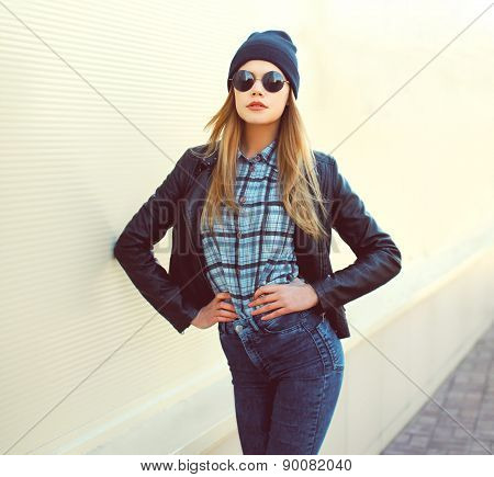Fashion Portrait Of Pretty Blonde Girl In Trendy Rock Style Posing Outdoors