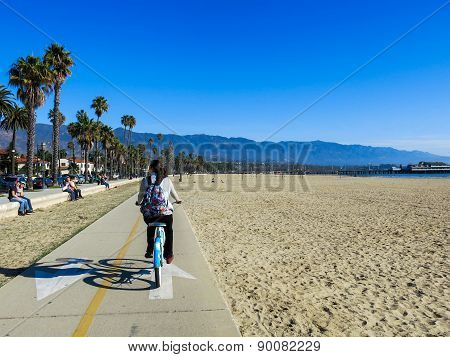 Girl on a bike in Santa Barbara