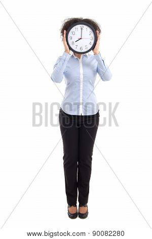 Curly Woman Covering Face With Office Clock Isolated On White