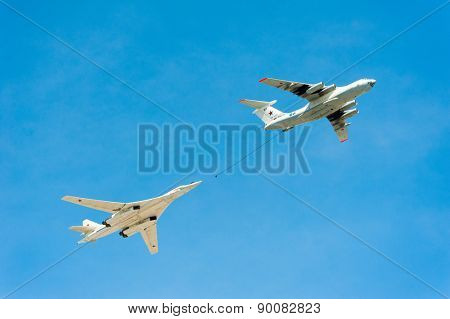 MOSCOW - MAY 7: Refueling aircraft and bomber participate at last rehearsal of the parade dedicated to 70th anniversary of the victory in the Second World War in Red Square on May 7, 2015 in Moscow