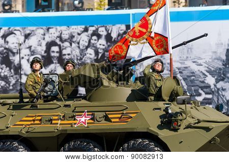 MOSCOW - MAY 7: Soldiers in military vehicles participate at last rehearsal of parade dedicated to the 70th anniversary of the victory in the Second World War in Red Square on May 7, 2015 in Moscow