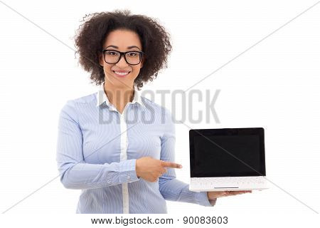 Beautiful African American Business Woman Holding Laptop With Blank Screen Isolated On White