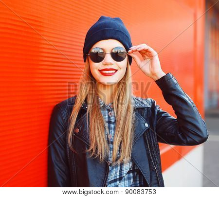 Portrait Of Fashionable Smiling Woman Wearing A Rock Black Style Having Fun Outdoors In The City