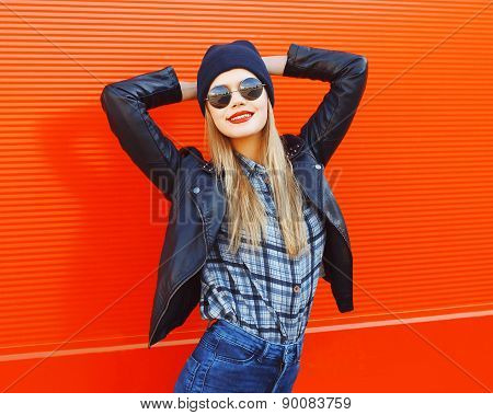 Portrait Of Fashionable Woman Wearing A Rock Black Style Having Fun Outdoors In The City Against The