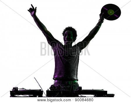 one disc jockey man happy joy arms raised in silhouette on white background
