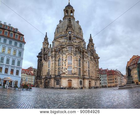 Dresden, Germany. Beautiful and famous church Frauenkirche
