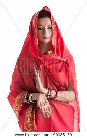 Portrait of charming East woman posing in sari