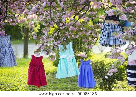 Children's Dresses On The Tree