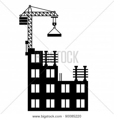 Building Construction with Crane on White Background. Vector