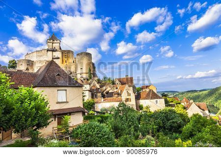 medieval fortress  Castelnaud, touristic attraction. Dordogne France
