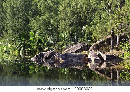 Beautiful lake with stone blocks near the Le Chevalier Bay Guesthouse