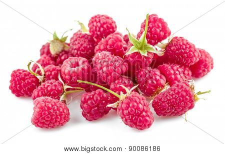 Fresh berry raspberries with green leaves. Isolated on white background