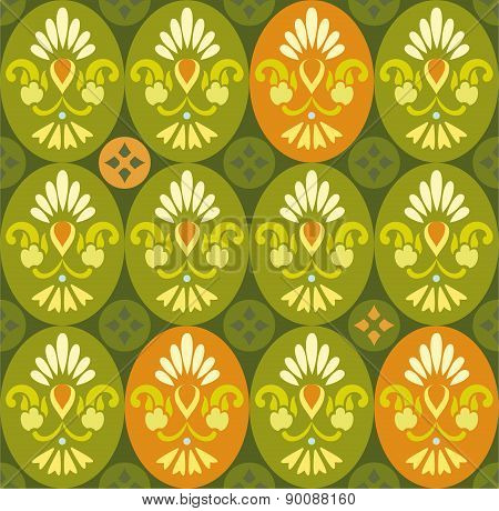 Floral Green Pattern In Ovals...