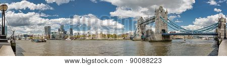 Panoramic View Of Tower Bridge And Tower Of London
