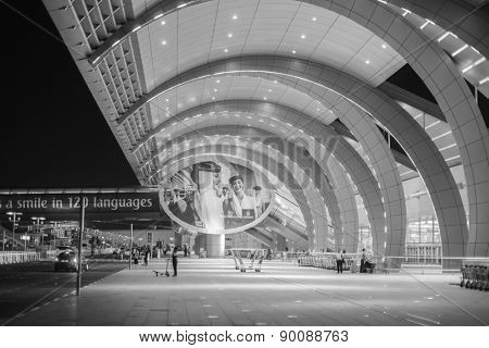 DUBAI, UAE - MARCH 26: Dubai Airport entrance on March 26, 2013. It is world largest building by floor space and world largest airport terminal.