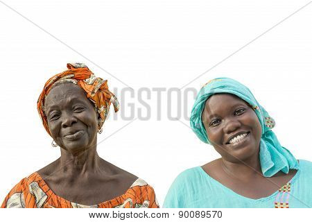 Mother and daughter smiling, seventy and forty years old, isolated,