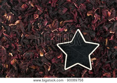 Star, Pointer, Price, Tag, Lies On Hibiscus