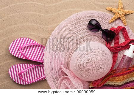 Accessories For The Beach Lying On The Sand