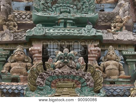Detail Of Statues On Sarangapani Temple Gopuram.
