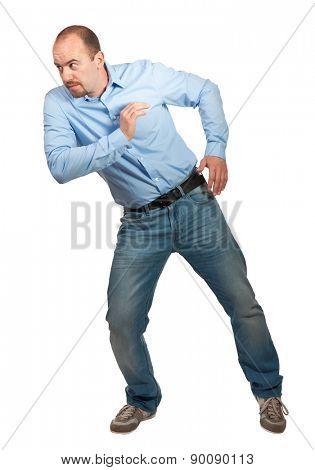 caucasian man portrait push pose on white