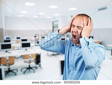 portrait of caucasian stressed teacher at school