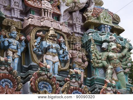 Lord Vishnu And Hanuman Statue On Gopuram.