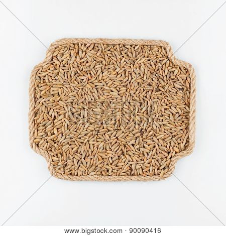 Frame Made Of Rope With Rye  Lying On A White Background