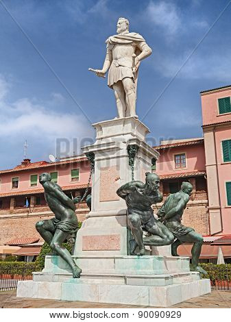 Monument Of The Four Moors In Leghorn, Tuscany, Italy
