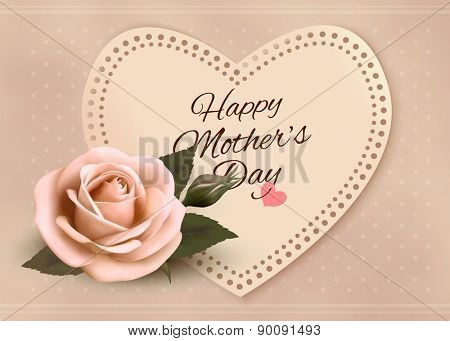 Retro greeting card with pink rose and heart. Happy Mother's day. Vector illustration