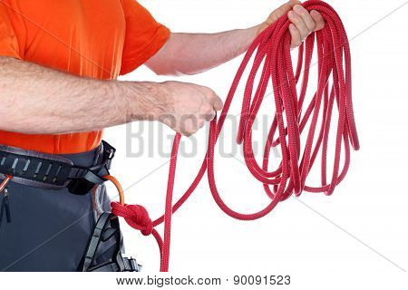 Climber With Rope In Hands