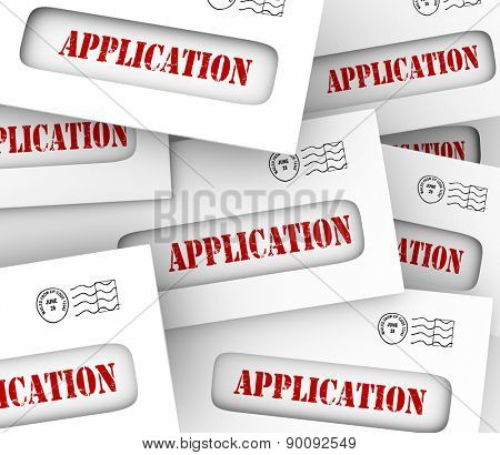 Application word on envelopes to illustrate many candidates, job offers or opportunities to find work or apply for credit from a bank or credit card company