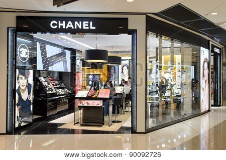 HONG KONG - MAY 05, 2015: Chanel cosmetics boutique interior. Cosmetics are the most accessible Chanel product, with counters in upmarket department stores across the world