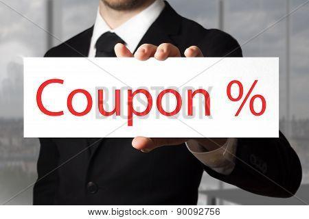 Businessman Holding Sign Coupon Percentage Symbol