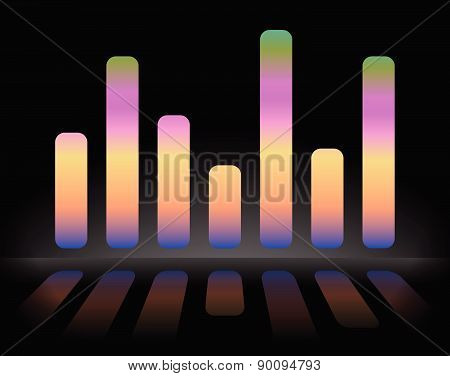 Eq, Equalizer Graphics With Reflection, Vector Version