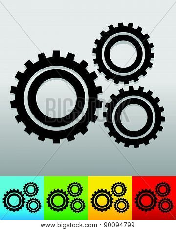 Gear, Gearwheel Background In 5 Colors To Match Your Design. Vector.