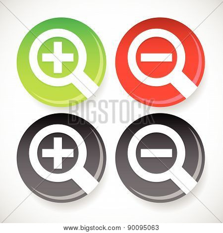 Circle Zoom In, Zoom Out Icons With Magnifier Glass Symbols